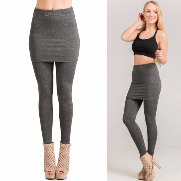 f12c4dd299bfa Pants | Charcoal Grey Skirt Leggings | Poshmark